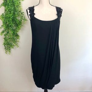 Badgley Mischka Black Silk Drape Cocktail Dress
